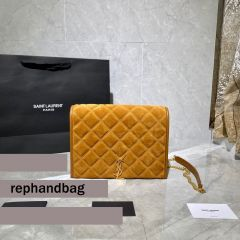 Saint Laurent Becky Small Brown Monogram Luxury Quilted Shoulder