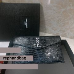 YSL Top Quality Clutch in embossed crocodile shiny black leather