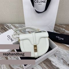 Celine Small Besace 16 Bag In Polished Calfskin In White